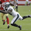 Philadelphia Eagles wide receiver Jeremy Maclin (18) catches a pass against the San Francisco 49ers during the fourth quarter of an NFL football game in Santa Clara, Calif., Sunday, Sept. 28, 2014. The Associated Press