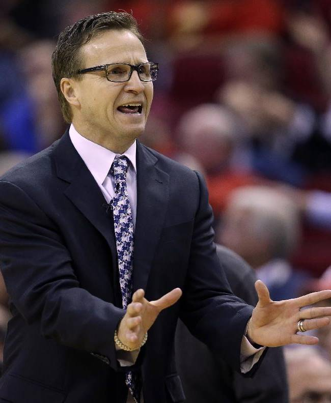 Oklahoma City Thunder coach Scott Brooks yells at an official during the fourth quarter of an NBA basketball game against the Houston Rockets Thursday, Jan. 16, 2014, in Houston. The Thunder beat the Rockets 104-92