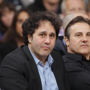 SACRAMENTO, CA - APRIL 26: Owners George Maloof (L) and Gavin Maloof (R) of the Sacramento Kings watch their team face off against the Los Angeles Lakers on April 26, 2012 at Power Balance Pavilion in Sacramento, California. (Photo by Rocky Widner/NBAE via Getty Images)