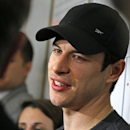 Pittsburgh Penguins captain Sidney Crosby answers a reporter's question in the Penguins' locker room during locker clean out day at the Consol Energy Center in Pittsburgh, Thursday, May 15, 2014 The Associated Press