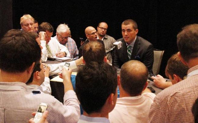 South Carolina' Dylan Thompson speaks to media at the Southeastern Conference NCAA college football media days on Tuesday, July 15, 2014, in Hoover, Ala