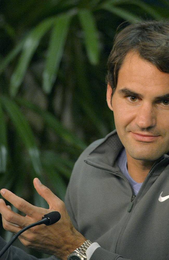 Roger Federer, of Switzerland, speaks during a news conference at the BNP Paribas Open tennis tournament, Thursday, March 6, 2014, in Indian Wells, Calif
