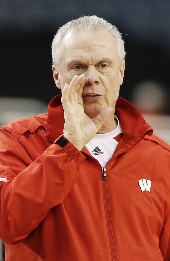 Wisconsin head coach Bo Ryan runs a drill during practice for an NCAA Final Four tournament college basketball semifinal game Friday, April 4, 2014, in Dallas. Wisconsin plays Kentucky on Saturday, April 5, 2014