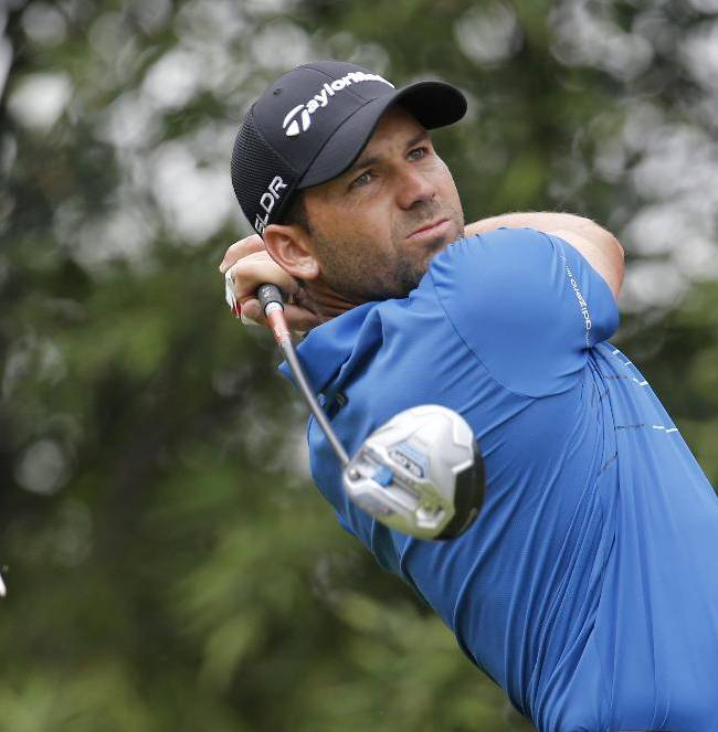 Spain's Sergio Garcia tees off the 2nd hole during the third round of the HSBC Champions golf tournament at the Sheshan International Golf Club in Shanghai, China, Saturday, Nov. 2, 2013