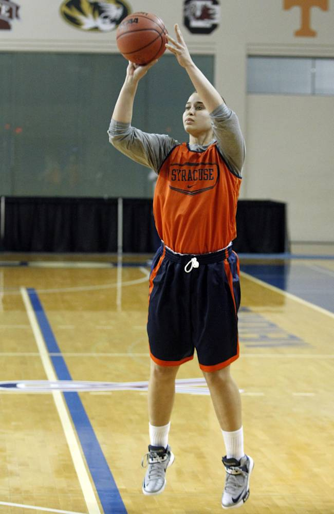 Syracuse guard Brianna Butler shoots during practice at the NCAA women's college basketball tournament in Lexington, Ky., Friday, March 21, 2014. Syracuse plays Chattanooga in a first-round game Saturday