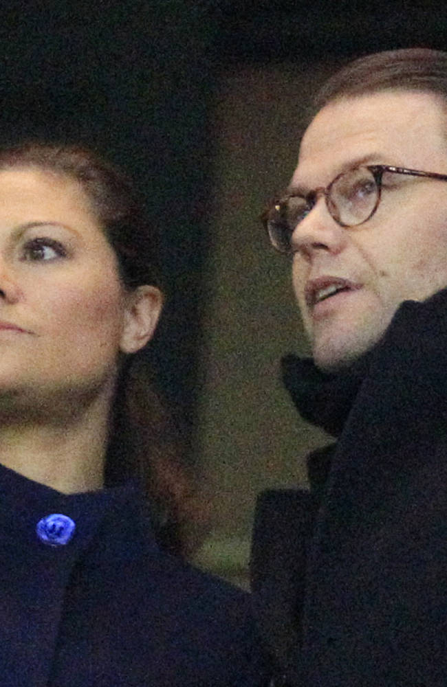 Sweden's Crown Princess Victoria, left, and her husband Daniel watch the World Cup qualifying playoff second leg soccer match between Sweden and Portugal in Stockholm, Sweden, Tuesday, Nov.19, 2013
