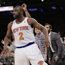 New York Knicks' Raymond Felton (2) reacts after making a three point basket during the first half of an NBA basketball game Monday, March 10, 2014, in New York The Associated Press