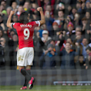 Manchester United's Radamel Falcao Garcia celebrates after scoring against Leicester during the English Premier League soccer match between Manchester United and Leicester at Old Trafford Stadium, Manchester, England, Saturday Jan. 31, 2015