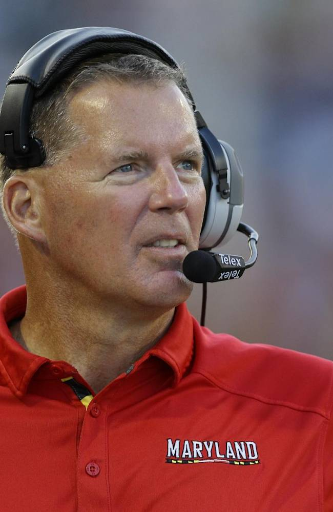 In this Sept. 7, 2013, file photo, Maryland head coach Randy Edsall looks on in the second half of an NCAA college football game against Old Dominion in College Park, Md. Edsall fully expects to be able to compete in the Big Ten this year