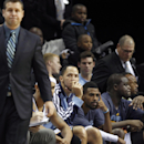 Memphis Grizzlies players Tayshaun Prince, Mike Conley and Zach Randolph, right, look on with head coach Dave Joerger as they drop more than 20 points behind Golden State in the second half of an NBA basketball game Saturday, Dec. 7, 2013, in Memphis, Ten