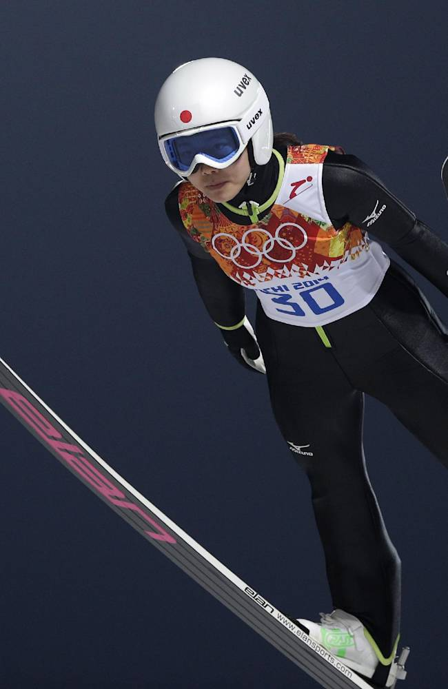 Japan's Sara Takanashi makes her trial jump in the women's ski jumping normal hill final at the 2014 Winter Olympics, Tuesday, Feb. 11, 2014, in Krasnaya Polyana, Russia