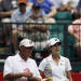 Jennifer Johnson, right, confers with her caddie as she prepares to tee off for the final round of the Mobile Bay LPGA Classic golf tournament at the Robert Trent Jones Golf Trail at Magnolia Grove in Mobile, Ala. Sunday, May 19, 2013. (AP Photo/Dave Martin)