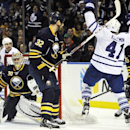 Buffalo Sabres' Ryan Miller (30) and John Scott (32) react to a goal by Toronto Maple Leafs' Nikolai Kulemin (41), of Russia, as he celebrates during the second period of an NHL hockey game in Buffalo, N.Y., Friday, Nov. 29, 2013 The Associated Press