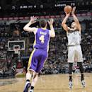 SAN ANTONIO, TX - March 14: Jeff Ayres #11 of the San Antonio Spurs shoots against the Los Angeles Lakers at the AT&T Center on March 14, 2014 in San Antonio, Texas