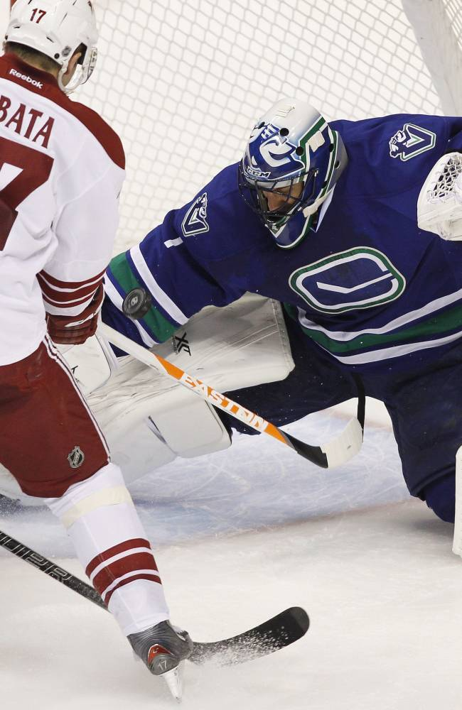 Vancouver Canucks goaltender Roberto Luongo (1) makes a save against the Phoenix Coyotes' Radim Vrbata (17) o during third period NHL hockey action in Vancouver, British Columbia, on Friday Dec. 6, 2013