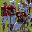 Miami Dolphins quarterback Ryan Tannehill (17) steps back to pass during NFL football training camp in Davie, Fla., Sunday, July 27, 2014 The Associated Press