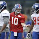 New York Giants quarterback Eli Manning (10) gestures during NFL football camp in East Rutherford, N.J., Wednesday, July 23, 2014 The Associated Press