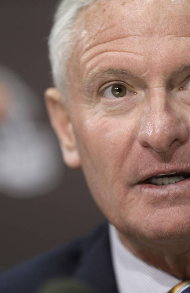 Cleveland Browns owner Jimmy Haslam answers questions during a news-conference Tuesday, Feb. 11, 2014, in Berea, Ohio