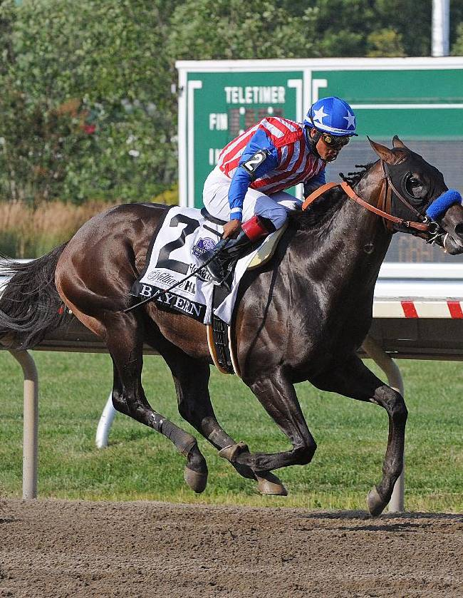 In a photo provided by Equi-Photo, Bayern, with Martin Garcia riding, wins the $1 million Haskell Invitational horse race at Monmouth Park on Sunday, July 27, 2014, in Oceanport, N.J
