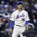 New York Mets starting pitcher Daisuke Matsuzaka, of Japan, reacts during the eighth inning of a baseball game against the Atlanta Braves, Saturday, April 19, 2014, in New York The Associated Press
