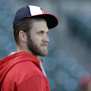 Washington Nationals right fielder Bryce Harper warms up during batting practice before Game 4 of baseball's NL Division Series against the San Francisco Giants in San Francisco, Tuesday, Oct. 7, 2014. (AP Photo/Ben Margot)