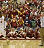 Iowa State guard DeAndre Kane (50) reacts in front of Michigan head coach John Beilein during the second half of an NCAA college basketball game against Michigan, Sunday, Nov. 17, 2013, in Ames, Iowa. Iowa State won 77-70. (AP Photo/Charlie Neibergall)