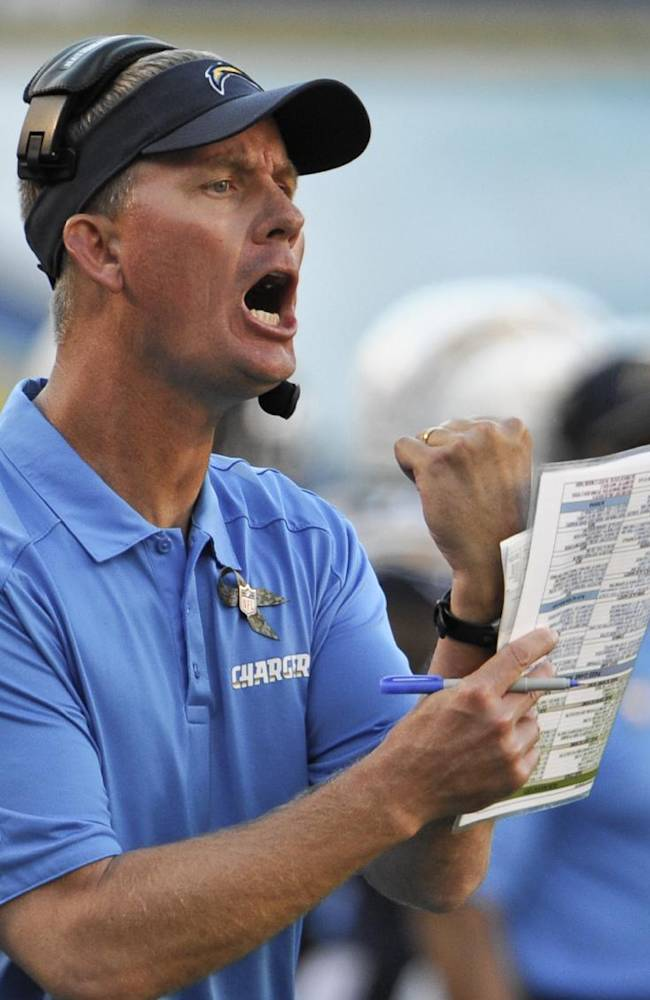 San Diego Chargers coach Mike McCoy gets animated trying to convince a referee about a holding call during the second half of a NFL football game against the Denver Broncos Sunday, Nov. 10, 2013, in San Diego.  The Chargers lost 28-20