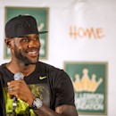 AKRON, OH - AUGUST 08: LeBron James speaks during a press conference at The University of Akron before the kickoff of his welcome ceremony at InfoCison Stadium at The University of Akron on August 8, 2014 in Akron, Ohio. (Photo by Ty Wright/Getty Images)