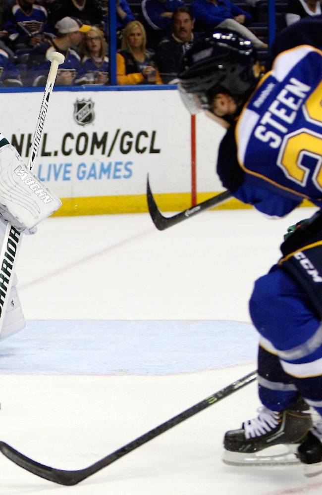 Minnesota Wild goalie Josh Harding blocks a shot on goal from St. Louis Blues' Alexander Steen during the second period of a preseason NHL hockey game Friday, Sept. 27, 2013, in St. Louis