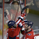 Washington Capitals right wing Joel Ward (42) and left wing Jason Chimera (25) celebrate Ward's goal in the third period of an NHL hockey game against the New Jersey Devils, Thursday, Oct. 16, 2014, in Washington. The Capitals won 6-2 The Associated Press