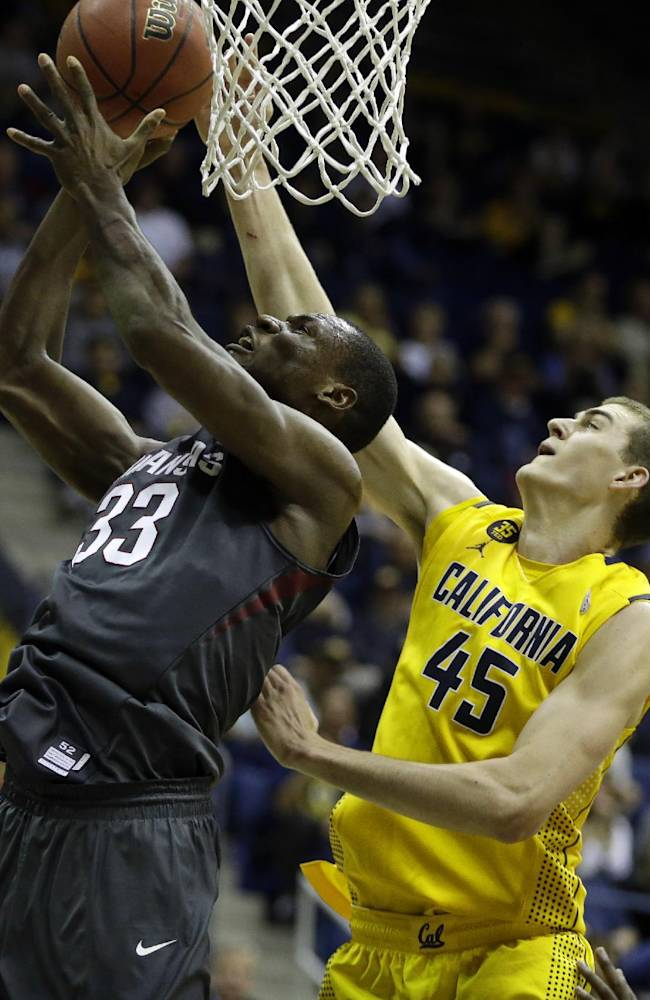 Arkansas center Moses Kingsley, left, lays up a shot against California's David Kravish (45) in the second half of an NCAA college basketball game in the NIT tournament Monday, March 24, 2014, in Berkeley, Calif. (AP