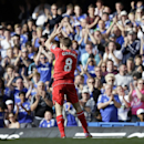 FILE - In this Sunday, May 10, 2015 file photo Liverpool's Steven Gerrard applauds the crowd during the English Premier League soccer match between Chelsea and Liverpool at Stamford Bridge, London. (AP Photo/Tim Ireland, File)