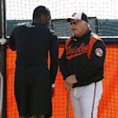 Baltimore Orioles manager Buck Showalter, right, talks with Adam Jones around the batting cage before an exhibition spring training baseball game against the Toronto Blue Jays in Sarasota, Fla., Saturday, March 1, 2014 The Associated Press