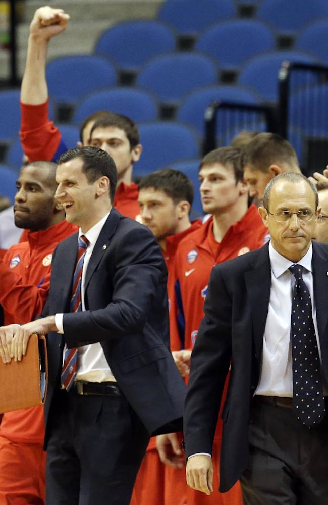 CSKA Moscow head coach Ettore Messina, right, heads over to shake hands with Minnesota Timberwolves coach Rick Adelman after CSKA defeated the Timberwolves 108-106 in overtime in an NBA exhibition basketball game, Monday, Oct. 7, 2013, in Minneapolis