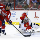 Washington Capitals left wing Jason Chimera (25) prepares to shoot on Florida Panthers goalie Al Montoya (35) during the first period of an NHL hockey game, Saturday, Oct. 18, 2014, in Washington. Chimera scored a goal on the play The Associated Press