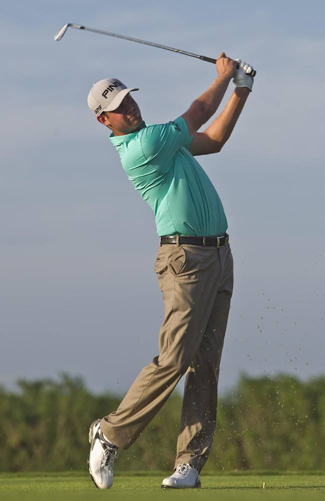 Harris English of the U.S. tees off on the fourth hole during the third day of the OHL Classic at Mayacoba golf tournament in Quintana Roo, Mexico, Saturday, Nov. 16, 2013
