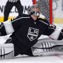 Los Angeles Kings goalie Jonathan Quick reacts after being scored on by Chicago Blackhawks right wing Patrick Kane during the first period of an NHL hockey game, Wednesday, Jan. 28, 2015, in Los Angeles The Associated Press