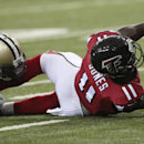 Atlanta Falcons wide receiver Julio Jones (11) stretches after making a catch against New Orleans Saints cornerback Patrick Robinson (21) during the second half of an NFL football game, Sunday, Sept. 7, 2014, in Atlanta The Associated Press