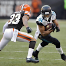 Jacksonville Jaguars wide receiver Cecil Shorts (84) runs after a catch against Cleveland Browns cornerback Joe Haden (23) in the fourth quarter of an NFL football game on Sunday, Dec. 1, 2013, in Cleveland. Shorts caught a 20-yard pass for a touchdown wi