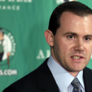 Boston Celtics assistant general manager Ryan McDonough discusses the team's selections in the NBA draft during an availability in Boston, Thursday, June 28, 2012. The team selected Ohio State forward Jared Sullinger with the No. 21 pick and Syracuse center Fab Melo with the No. 22 pick in the first round. (AP Photo/Charles Krupa)
