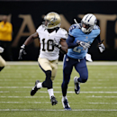 In this Aug. 15, 2014, photo, New Orleans Saints wide receiver Brandin Cooks (10) runes a route against Tennessee Titans cornerback Coty Sensabaugh during an NFL preseason football game in New Orleans. There has been a jump in the number of penalties call