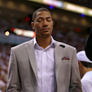 MIAMI, FL - MAY 15: Derrick Rose #1 of the Chicago Bulls looks on during Game Five of the Eastern Conference Semifinals of the 2013 NBA Playoffs against the Miami Heat at American Airlines Arena on May 15, 2013 in Miami, Florida. (Photo by Mike Ehrmann/Getty Images)