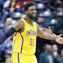 INDIANAPOLIS, IN - MARCH 01: Roy Hibbert #55 of the Indiana Pacers celebrates during the game against the Philadelphia 76ers at Bankers Life Fieldhouse on March 1, 2015 in Indianapolis, Indiana. (Photo by Andy Lyons/Getty Images)