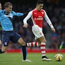 Arsenal's Alexis Sanchez runs past Stoke City's Ryan Shawcross during their English Premier League soccer match between Arsenal and Stoke City at the Emirates stadium in London, Sunday, Jan. 11, 2015
