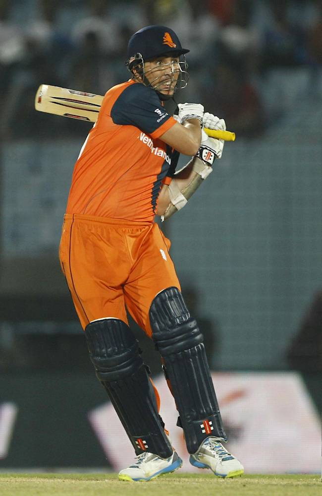Netherlands's Tom Cooper plays a shot during their ICC Twenty20 Cricket World Cup match against Sri Lanka in Chittagong, Bangladesh, Monday, March 24, 2014