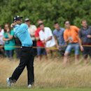 Sergio Garcia of Spain plays a shot onto the 11th green during the final round of the British Open Golf championship at the Royal Liverpool golf club, Hoylake, England, Sunday July 20, 2014