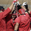 Arizona Diamondbacks left fielder Cody Ross, center, celebrates with teammates after a batting drill pitting one half of the team against the other during a spring training baseball practice Tuesday, Feb. 25, 2014, in Scottsdale, Ariz The Associated Press
