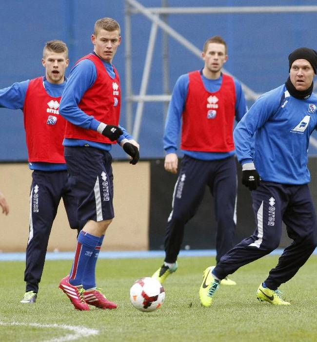 Iceland's players practice during a training session Monday, Nov. 18 2013, at the Maksimir stadium in Zagreb. Iceland will play Croatia on Tuesday in a World Cup qualifying playoff second-leg soccer match