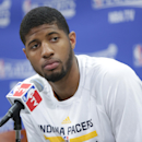 Paul George #24 of the Indiana Pacers addresses the media after a game against the Atlanta Hawks in Game Five of the Eastern Conference Quarterfinals at Bankers Life Fieldhouse on April 28, 2014 in Indianapolis, Indiana. (Photo by Ron Hoskins/NBAE via Getty Images)
