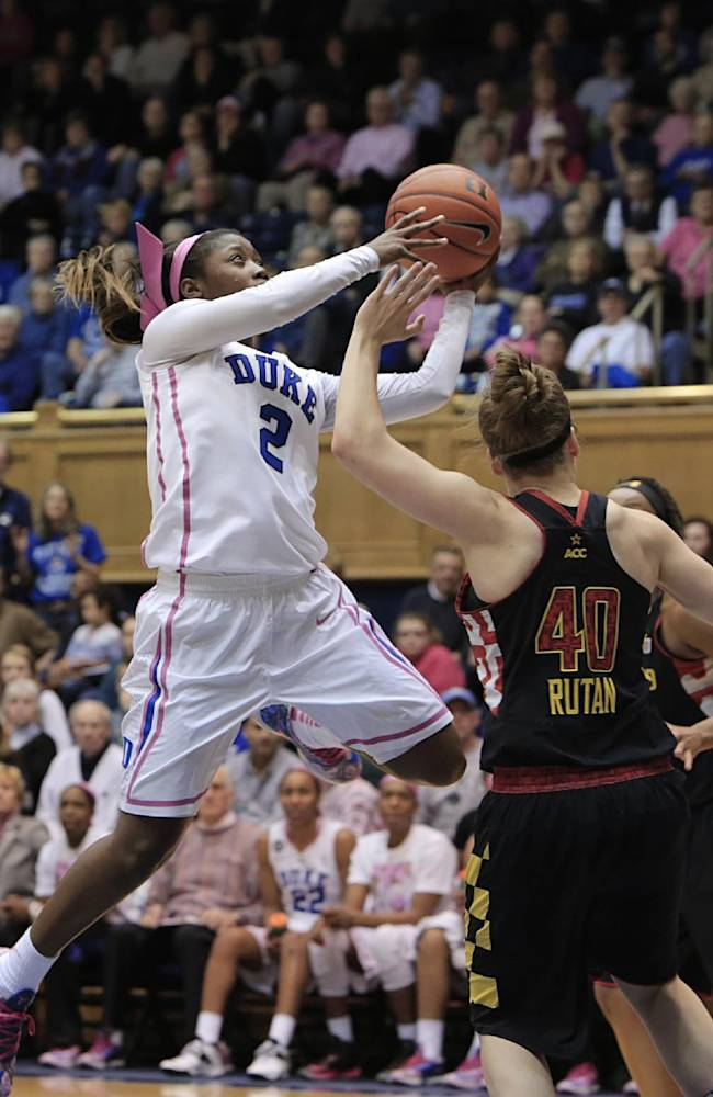 Duke's Alexis Jones (2), who scored a game-high 22 points, shoots over Maryland's Katie Rutan (40) during the second half of an NCAA college basketball game in Durham, N.C., Monday, Feb. 17, 2014. Duke won 84-63